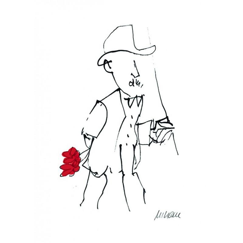 Armin Mueller-Stahl Kunst Bild kaufen Gratulation, rot handsigniertes Original