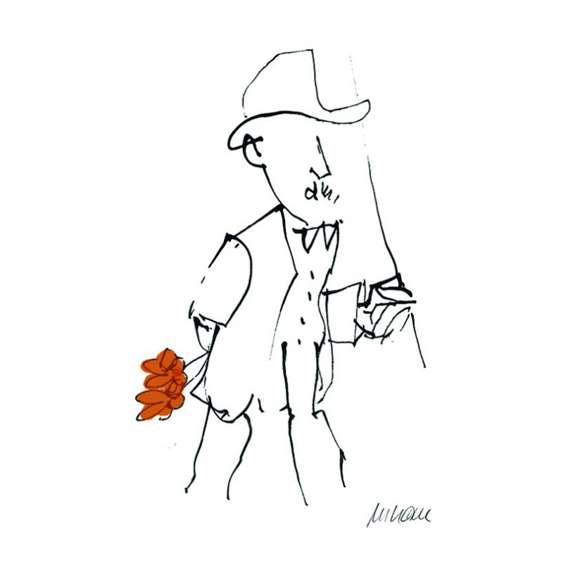 Armin Mueller-Stahl Kunst Bild kaufen Gratulation, orange handsigniertes Original