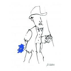 Armin Mueller-Stahl Kunst Bild kaufen Gratulation, blau handsigniertes Original