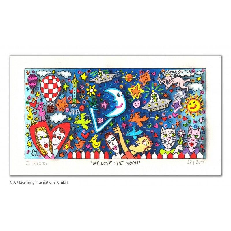 James Rizzi - We love the moon - 3D Original im Passepartout kaufen