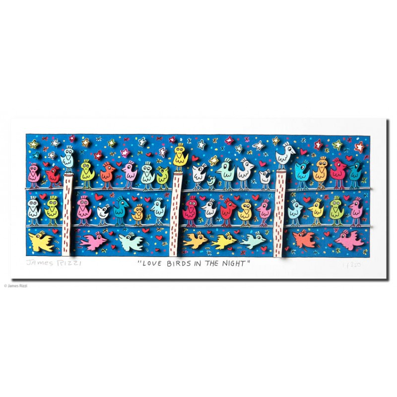 James Rizzi - Love Birds in the night Original 3d Kunst kaufen