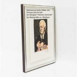 Rahmungsvorschlag Rahmen Holzrahmen Silber mit Schwarzdurchrieb am Beispiel Helmut Schmidt