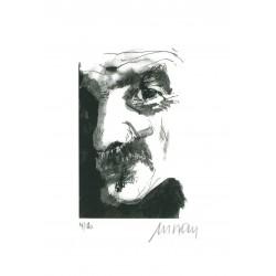 Selbstbildnis mit Zigarette Armin Mueller-Stahl signiertes Original