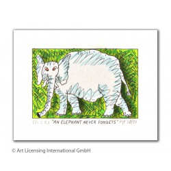 "James Rizzi 3D Bild kaufen ""An elephant never forgets"""