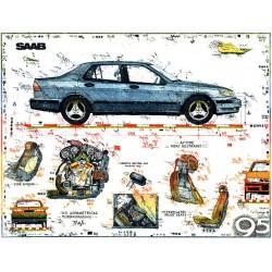 """Original Bild vom Künstler Leslie G. Hunt """"SAAB 9-5"""" mit oder ohne Rahmen kaufen"""
