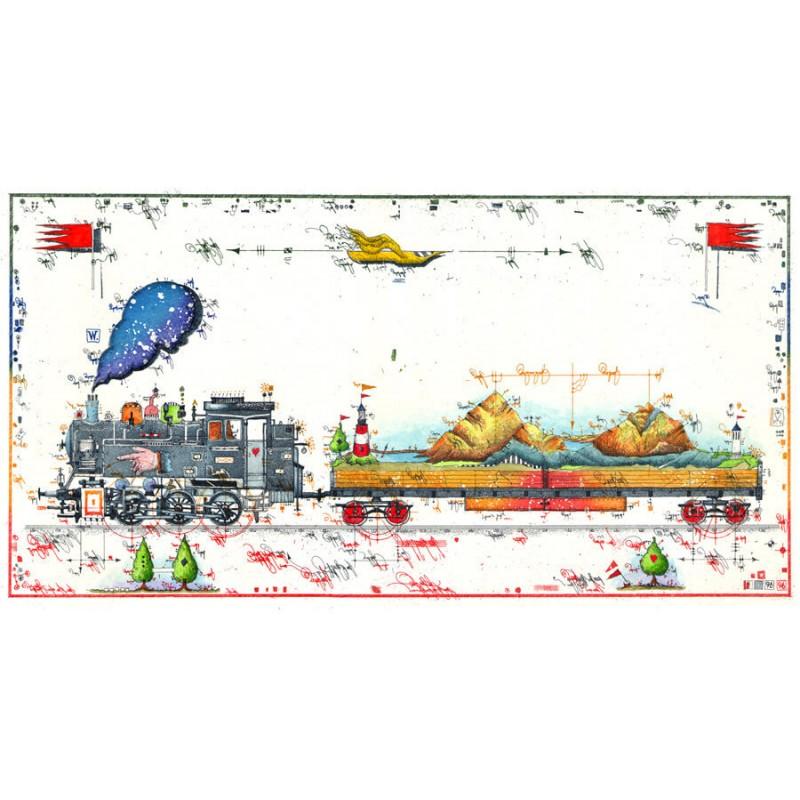 """Original Bild vom Künstler Leslie G. Hunt """"Bergbahn"""" mit oder ohne Rahmen kaufen"""