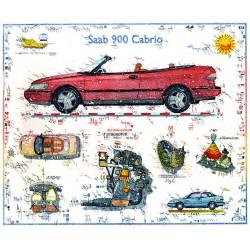 """Original Bild vom Künstler Leslie G. Hunt """"Saab 900 Cabrio"""" mit oder ohne Rahmen kaufen"""